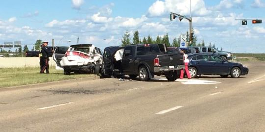 Collision on Yellowhead Trail sends 3 people to hospital