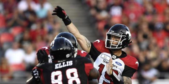 Bo Levi Mitchell earns 60th career win, but leaves early in Calgary's 27-3 victory over Redblacks