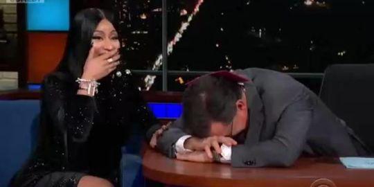 Nicki Minaj makes Stephen Colbert blush in 'Late Show' rap
