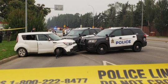 Major police scene at Edmonton's 75 Street after shots reportedly fired, high-speed pursuit ensues