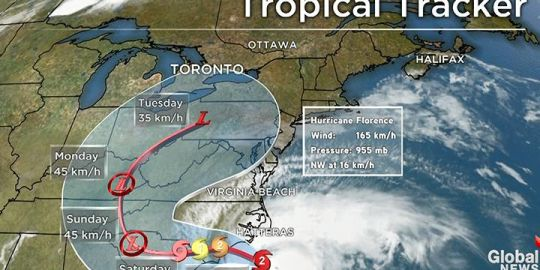 Could Florence shift north? Canadian meteorologists monitoring developments