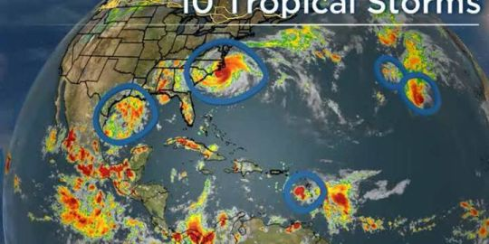 There are 10 tropical storms swirling around the globe, and they look like this