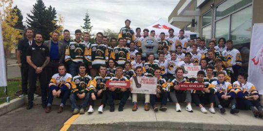 Humboldt Broncos and Saskatoon Blades raise awareness for blood donation