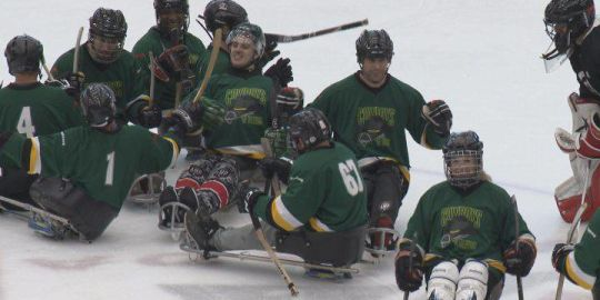 Ryan Straschnitzki returns to the ice for first-ever sledge hockey game