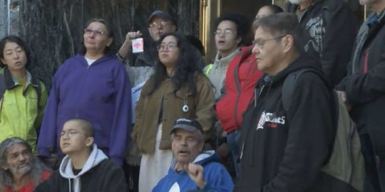 Homeless advocates protest outside Vancouver Mayor Gregor Robertson's last council meeting