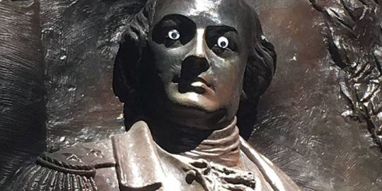 Georgia city not amused by vandal who put googly eyes on Nathanael Greene statue