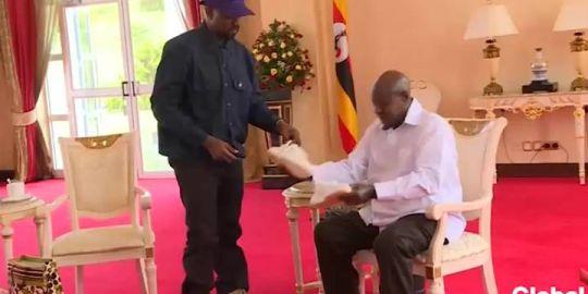 Kanye West gifts Yeezy sneakers to Uganda's president