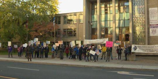 Westmount High School teachers protest CAQ's planned religious symbols ban