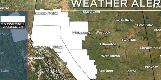 Heavy snow on the way for western Alberta; travellers being warned