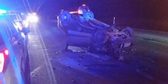 82-year-old driver crashes into RCMP vehicles on Trans-Canada Highway