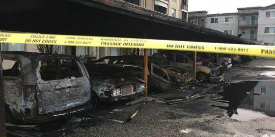 Kelowna carport arson suspect caught on video biking away from scene