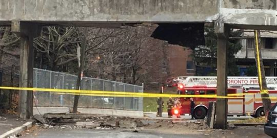 Pedestrian walkway partially collapses in Toronto's east end Saturday