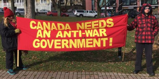 Protesters gather outside Halifax International Security Forum