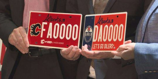 Edmonton Oilers, Calgary Flames licence plates to benefit charity foundations