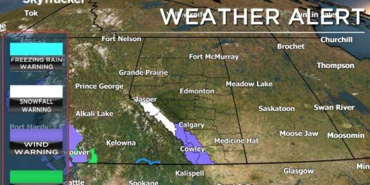 Parts of western Alberta brace for snow, wind as Environment Canada issues warnings