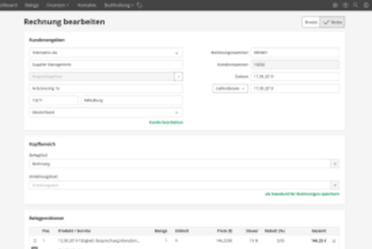 Screenshot: Rechnung bearbeiten in lexoffice