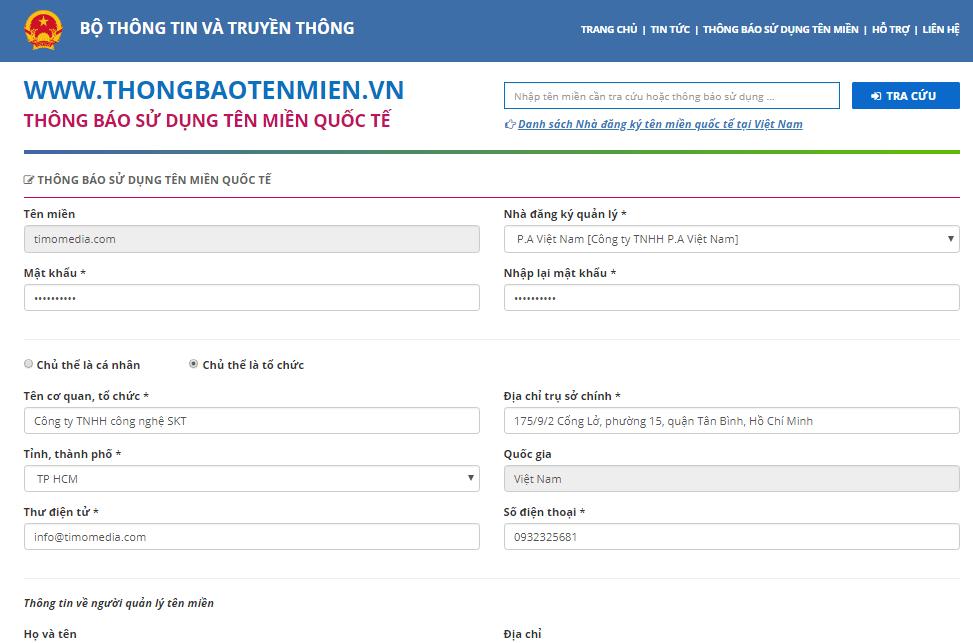 Khai báo sử dụng tên miền quốc tế