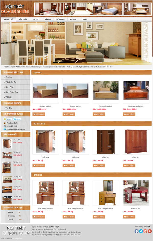 Giao diện mẫu web nội thất 3