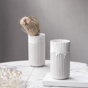 lyngby vase m/rennende glasur 20cm hvit