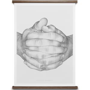 paper collective plakat 50x70 folded hands grå
