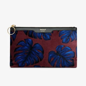 wouf pocket clutch velvet leaves