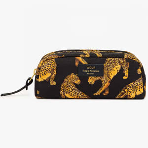 Wouf beauty bag black leopard liten