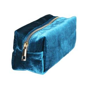 &klevering toalettveske fløyel blå