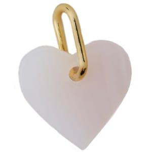 design letters charm hjerte rosa opal/gull