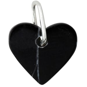 Design Letters charm marmor hjerte sort/sølv