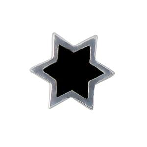Design letters charm emalje stjerne sort/sølv