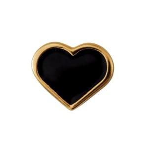 Design letters charm emalje hjerte sort/gull
