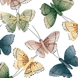Broste Serviett butterfly blå/rosa