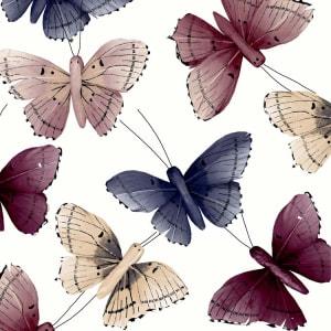 Broste Serviett Butterfly burgunder/blå