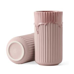 lyngby vase m/rennende glasur 20cm rosa