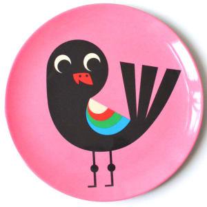 OMM design tallerken fugl rosa