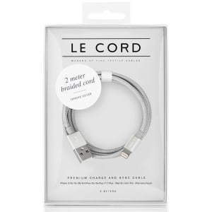 le cord ledning 2m solid silver