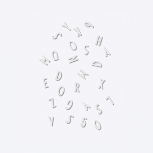 design letters bokstaver/tall 1,9cm i boks hvit