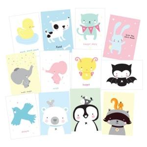 a little lovely company postkort 12pk cute animals