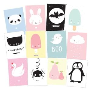 a little lovely company postkort 12pk cute kids