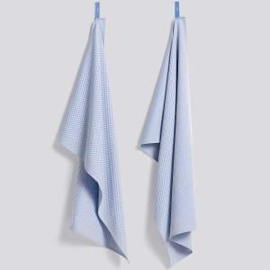hay check kjøkkenhåndkle 2pk lys blå