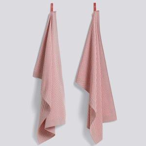 hay check kjøkkenhåndkle 2pk rosa