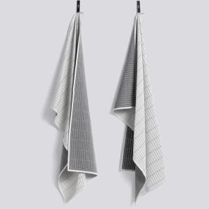hay grid kjøkkenhåndkle 2pk grå