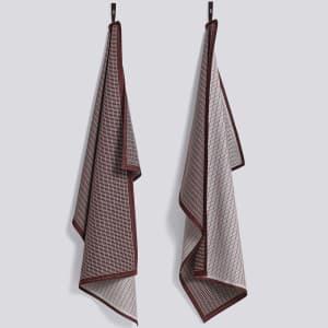 hay grid kjøkkenhåndkle 2pk bordeaux