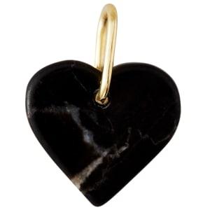 design letters charm hjerte sort marmor/gull