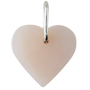 design letters charm hjerte rosa opal/sølv