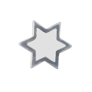 Design letters charm emalje stjerne hvit/sølv