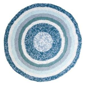 Håndheklet gulvteppe Round Blue Melange