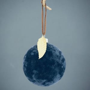 UND Julekule Velur Blå Løv 8 cm