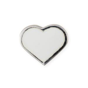 Design letters charm emalje hjerte hvit/sølv