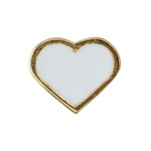 Design letters charms emalje hjerte hvit/gull